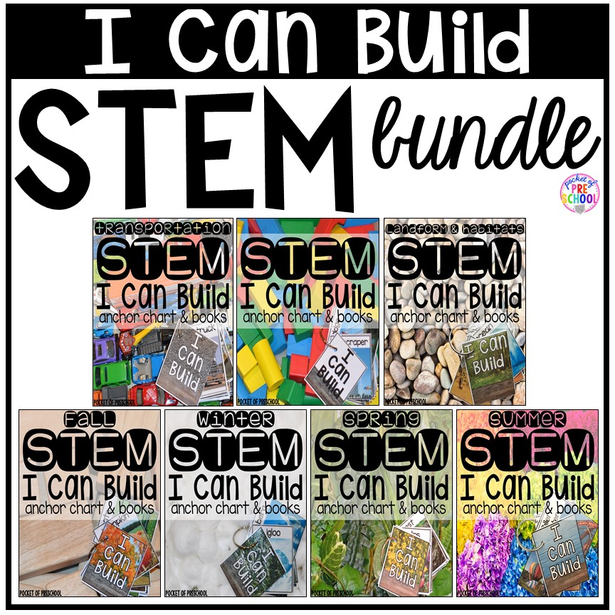 STEM I Can Build cards, posters, and student blueprints. Visual supports to help young engineers. #STEM #blockscenter