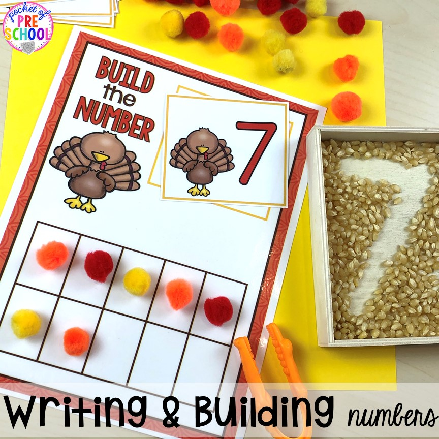 Turkey ten frames. Thanksgiving and turkey themed activities and centers for preschool, pre-k, and kindergarten. (math, literacy, fine motor, character, and more).