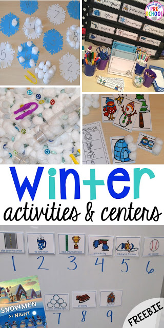 winter themed activities and centers snowman at night freebie too pocket of preschool. Black Bedroom Furniture Sets. Home Design Ideas