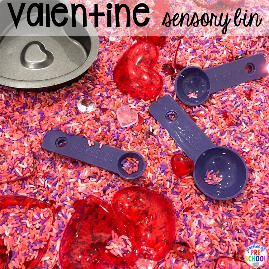 Valentine's Day sensory bin plus all my favorite Valentine's Day themed writing, math, fine motor, sensory, literacy, and science activities for preschool and kindergarten.