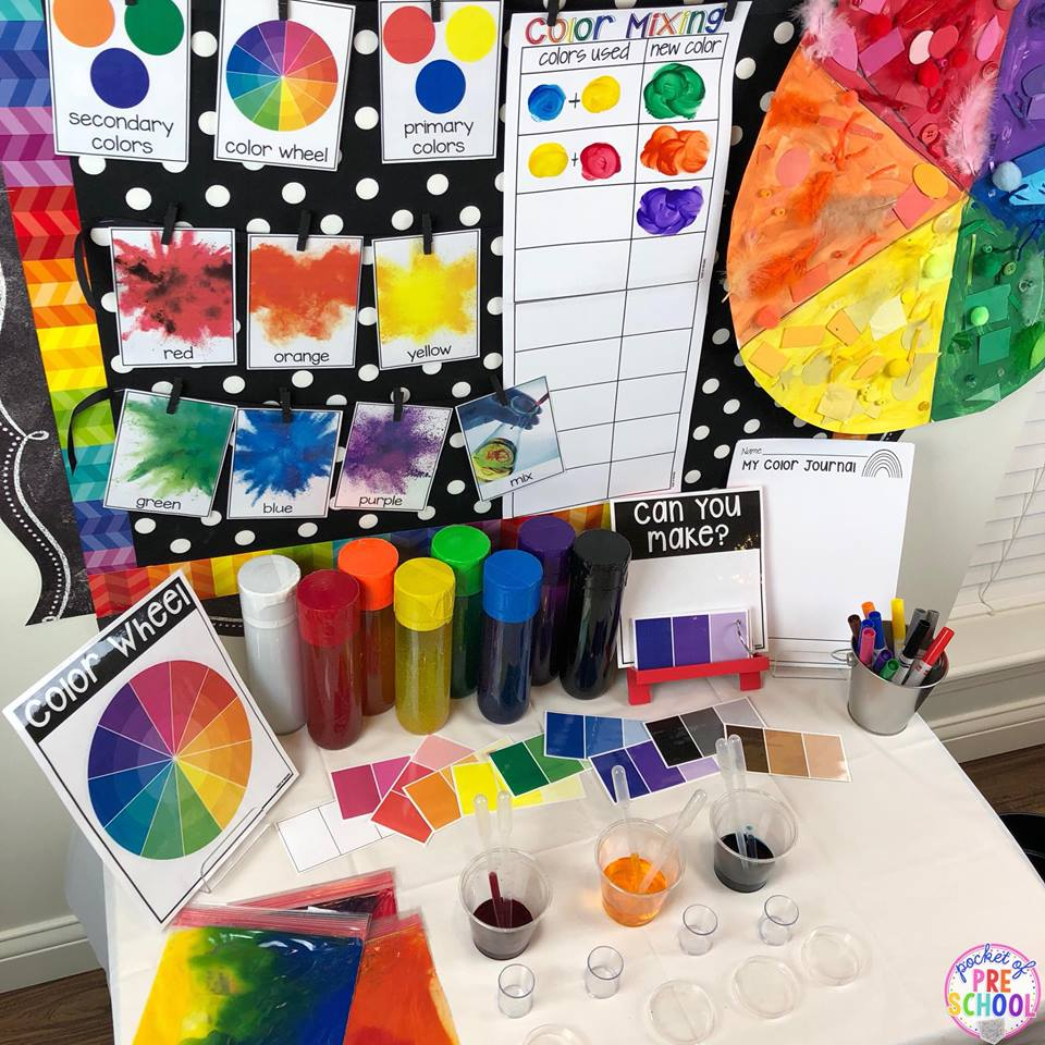 Color mixing science investigation for St. Patrick's Day theme. Designed for preschool, pre-k, and kindergarten.