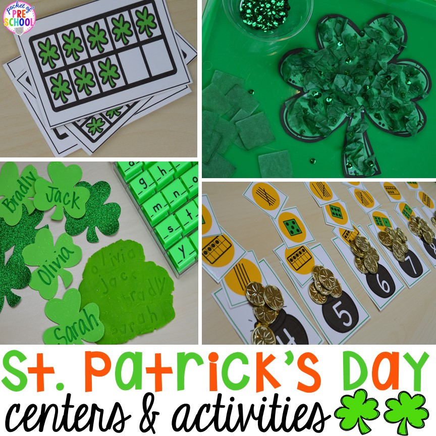 St. Patrick's Day Centers and Activities (math, literacy, writing, sensory, fine motor, art, STEM, blocks, science) and FREE ten frame shamrock cards for preschool, pre-k, and kindergarten.