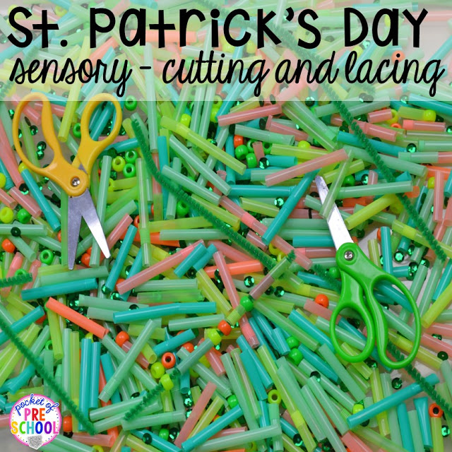 St. Patrick's Day sensory table cutting and lacing (beads and pipe cleaners) plus FREE ten frame shamrock cards for preschool, pre-k, and kindergarten. A fun way to build fine motor strength.