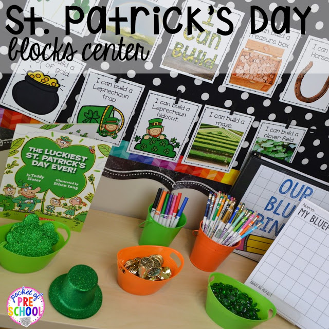 St. Patrick's Day STEM in the blocks center and FREE ten frame shamrock cards for preschool, pre-k, and kindergarten.