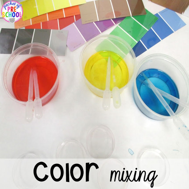 St. Patrick's Day color mixing science investigation plus FREE ten frame shamrock cards for preschool, pre-k, and kindergarten. A fun way to learn about colors.