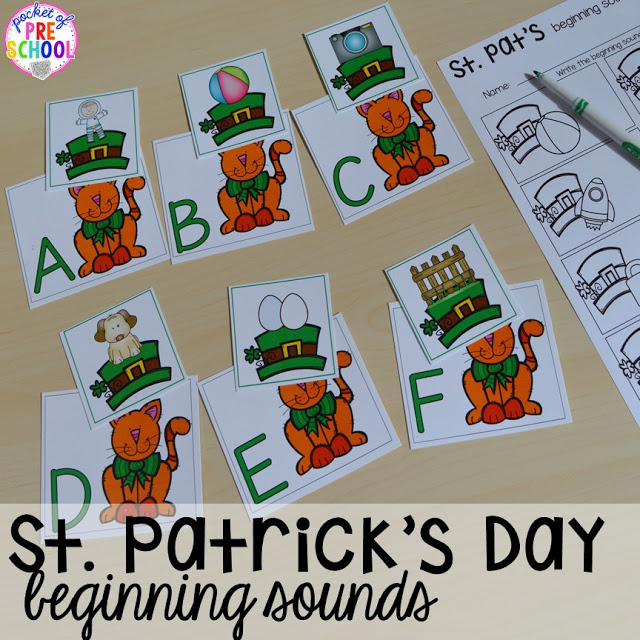 St. Patrick's Day beginning sounds activity plus FREE ten frame shamrock cards for preschool, pre-k, and kindergarten. A fun way to practice initial sounds.