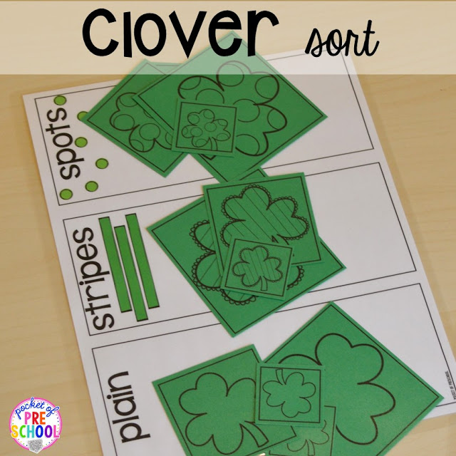 St. Patrick's Day shamrock sorting plus FREE ten frame shamrock cards for preschool, pre-k, and kindergarten. A fun way to practice sorting.