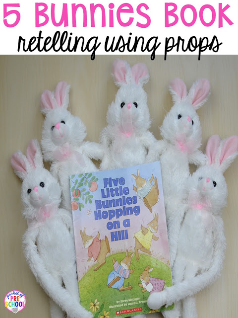 5 Little Bunnies Hopping on a Hill retelling activity. Plus peeps 5 senses and taste test FREEBIE. For preschool, pre-k, and kindergarten.