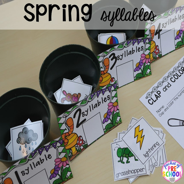 Spring themed syllable game plus Plant Needs and Life Cycle Posters FREEBIE. Prefect for preschool, pre-k, and kindergarten.