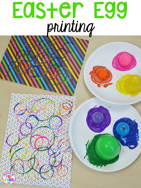 Process art for Easter... egg printing. Plus peeps 5 senses and taste test FREEBIE. For preschool, pre-k, and kindergarten.