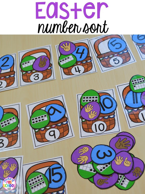 Easter basket number sort game. Plus peeps 5 senses and taste test FREEBIE. For preschool, pre-k, and kindergarten.