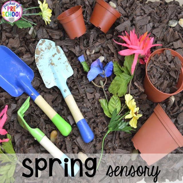 Planting sensory table. Prefect for a spring theme in preschool, pre-k, and kindergarten.