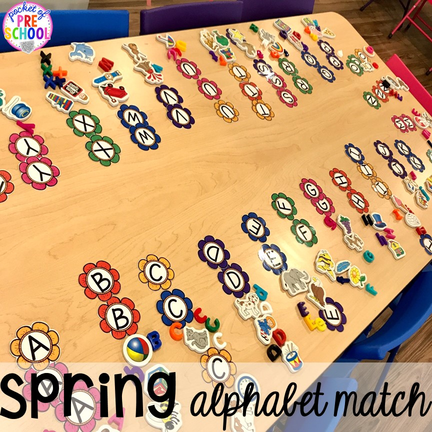 Spring alphabet match game plus Plant Needs and Life Cycle Posters FREEBIE. Prefect for preschool, pre-k, and kindergarten.