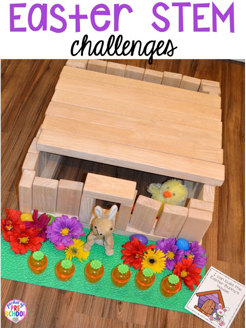 Easter STEM blocks center building challenges. Plus peeps 5 senses and taste test FREEBIE. For preschool, pre-k, and kindergarten.