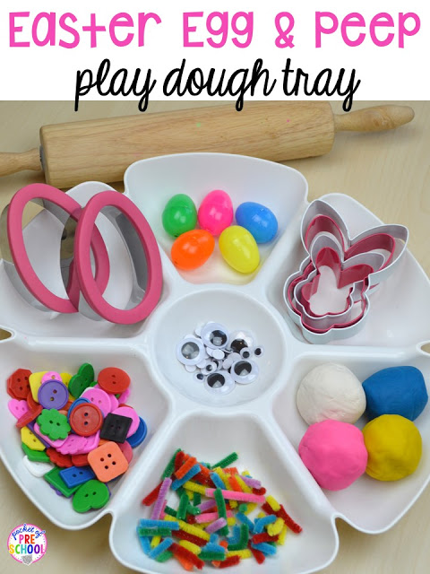 Easter egg and Peep play dough invitation to play tray. Plus peeps 5 senses and taste test FREEBIE. For preschool, pre-k, and kindergarten.
