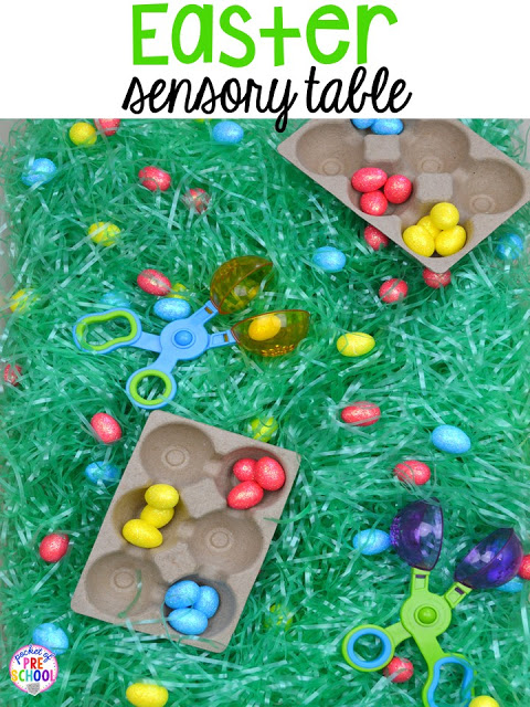 Easter themed sensory table (grass, foam eggs, scoopers). Plus peeps 5 senses and taste test FREEBIE. For preschool, pre-k, and kindergarten.