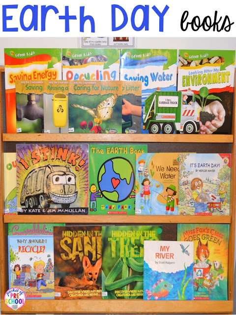 Earth Day book list. Plus FREE Earth Day vocabulary posters! Perfect for preschool, pre-k, or kindergarten.