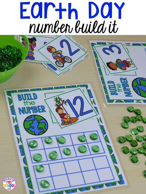 Earth Day build a number counting game. Plus FREE Earth Day vocabulary posters! Perfect for preschool, pre-k, or kindergarten.