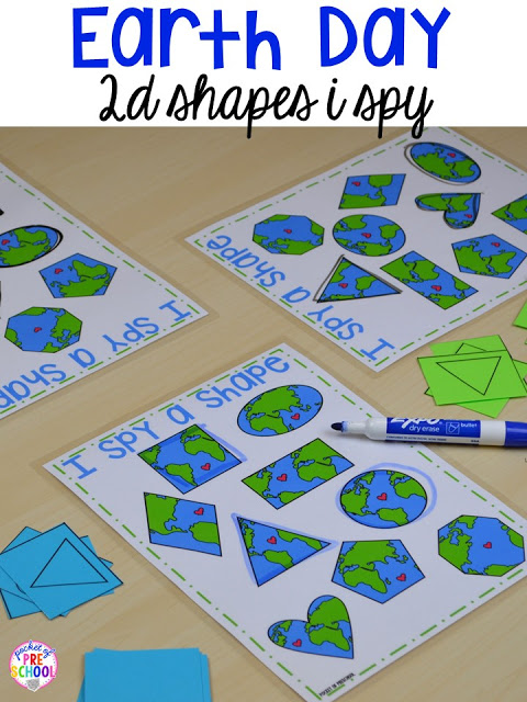 Earth Day 2D shapes I spy game. Plus FREE Earth Day vocabulary posters! Perfect for preschool, pre-k, or kindergarten.