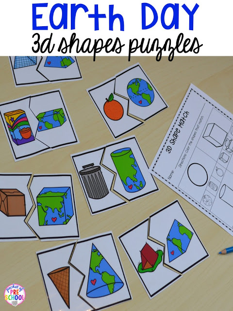 Earth Day 3D shape puzzles. Plus FREE Earth Day vocabulary posters! Perfect for preschool, pre-k, or kindergarten.