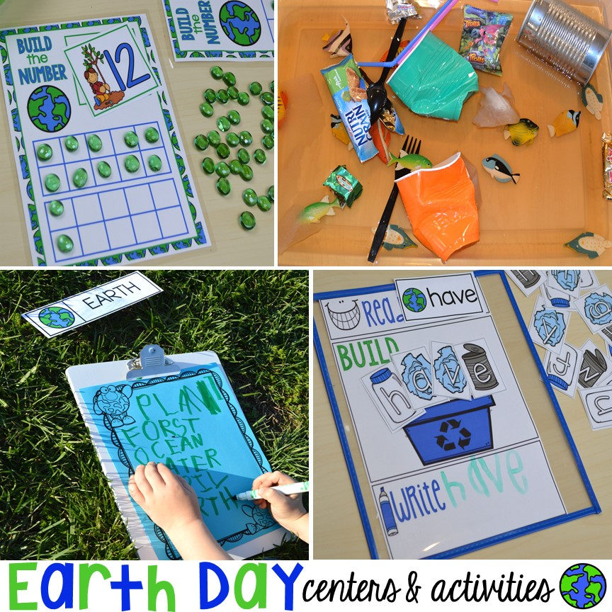 Earth Day literacy, math, sensory, science, sensory, art, and fine motor activities and centers for preschool, pre-k, and kindergarten. Plus FREE Earth Day vocabulary posters!