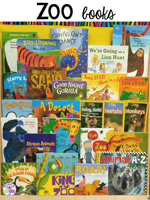 Zoo bookshelf during my zoo theme. Desert art FREEBIE. Prefect for preschool, pre-k, and kindergarten.