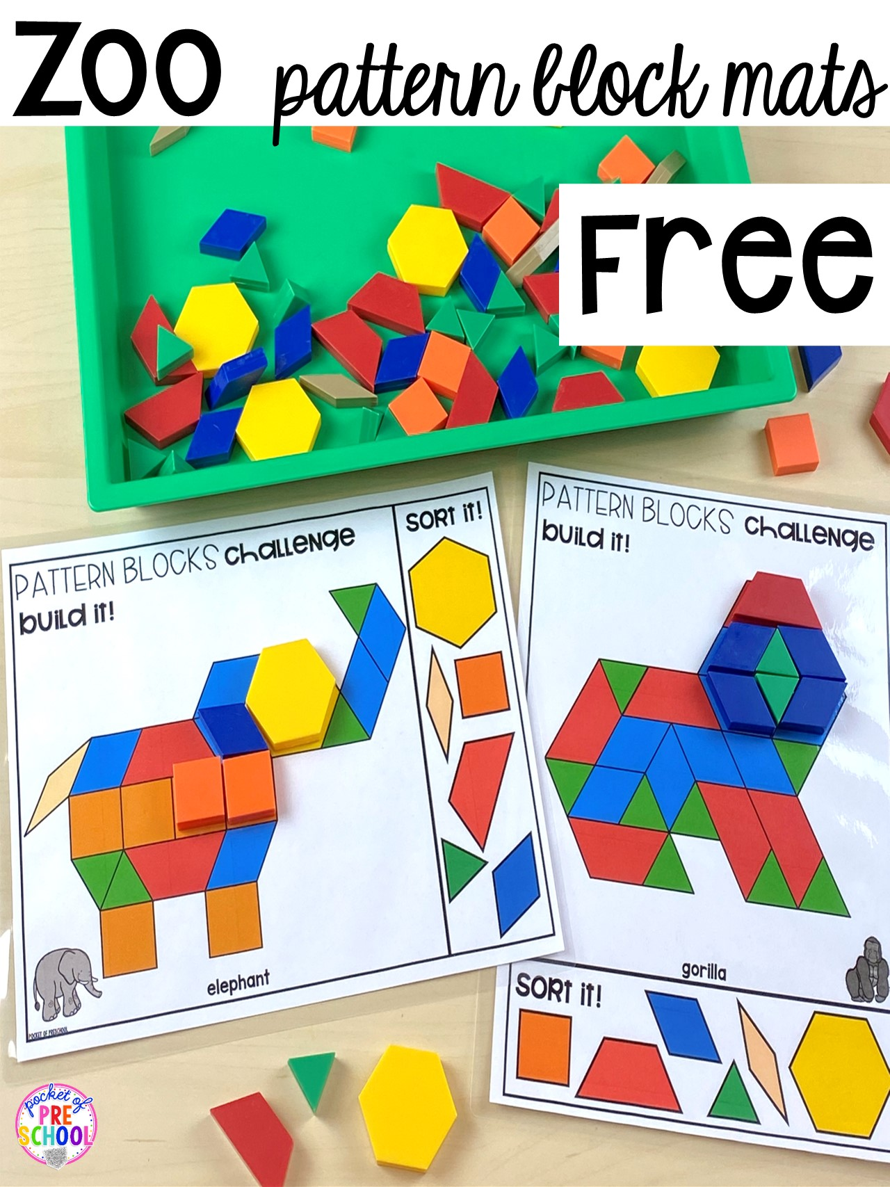 FREE Zoo pattern block mats to develop spacial sense and explore making pictures with shapes. #shapes #preschool #zootheme #patternblocks