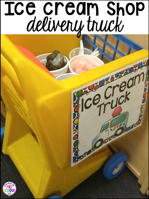 Ice Cream Shop Dramatic Play! How to set it up and embed learning opportunities. Perfect for preschool, pre-k, and kindergarten classrooms.
