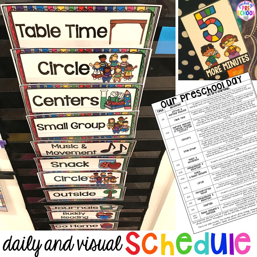 Daily preschool schedule and visual schedule tricks and tips for preschool, per-k, and kindergarten.
