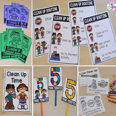Clean up visual supports, social story, routine posters, brag tags, and coloring book for preschool, pre-k, and kindergarten
