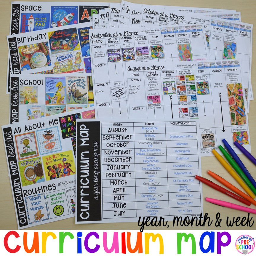 curriculum map preschool pre k and kindergarten for the whole year