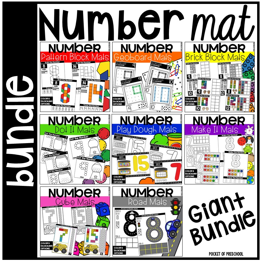 NUmber Mat Bundle to make learning one to one corespondence and how to write numbers FUN!