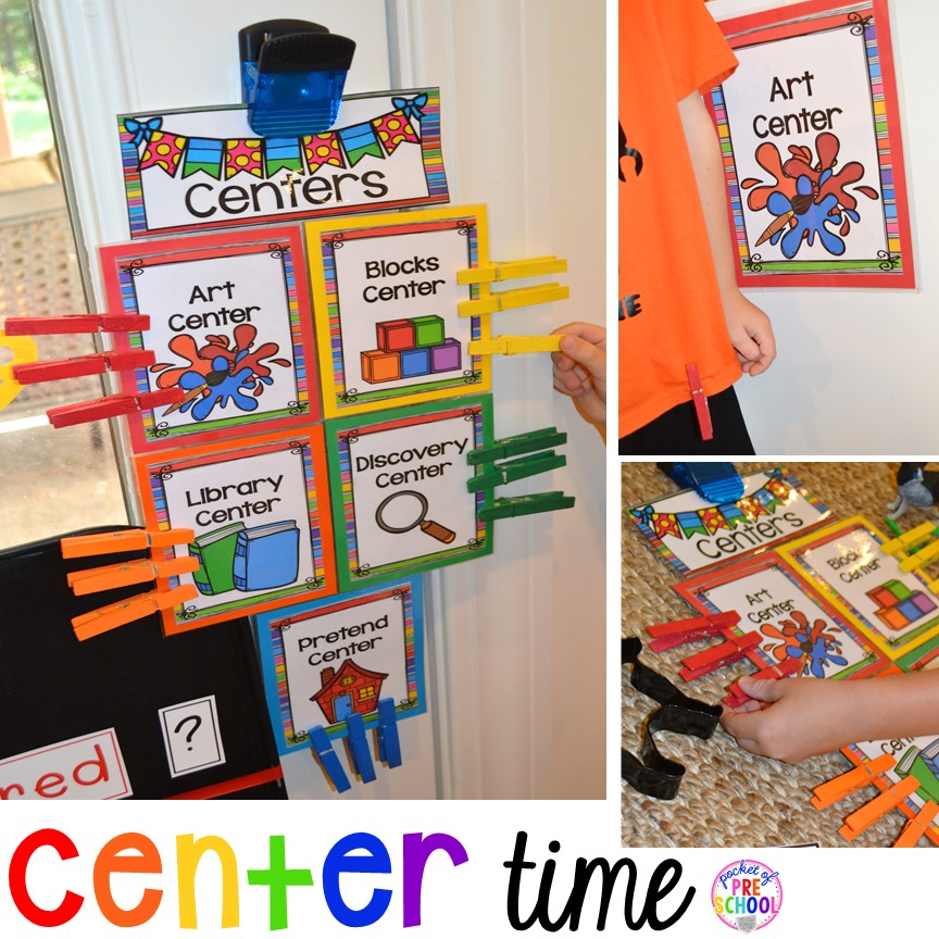 Book list to teach about centers plus Center Time management for preschool, pre-k, and kindergarten plus a free printable to teach about the centers.