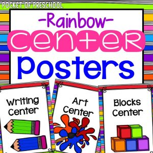 Center posters for preschool, prek, and kindergarten.