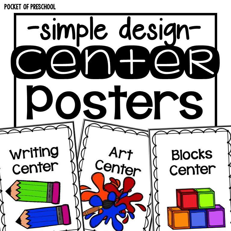 Simple Design center posters and station posters for preschool, pre-k, and kindergarten classrooms. #centertime #preschool #prek