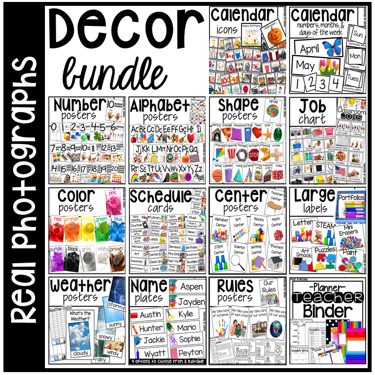 Classroom decor pack with real phots: alphabet posters, number posters, shape posters, calendar set, weather charts, job chart, center posters, teacher binder, and MORE.