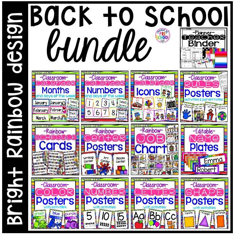 Classroom decor pack with a rainbow theme: alphabet posters, number posters, shape posters, calendar set, weather charts, job chart, center posters, teacher binder, and MORE.