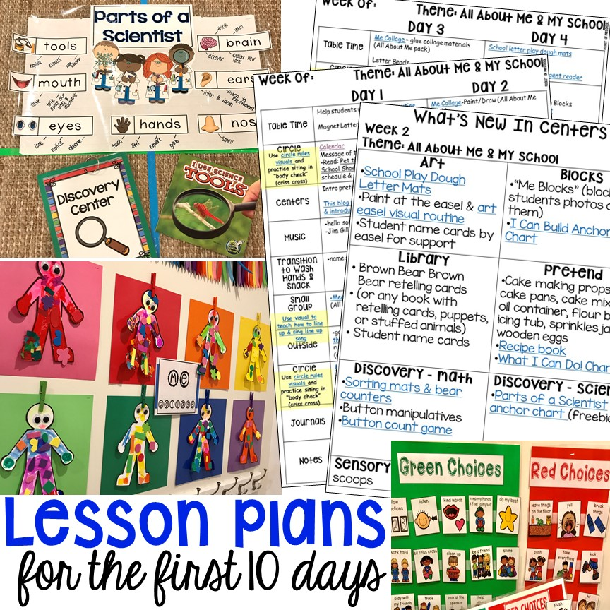 Free Preschool Pre K And Kinder Lesson Plans For The 1st Ten Days