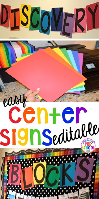 FREE EDITABLE Center signs! Easy to make classroom decor for preschool up to 5th grade! Will match any classroom theme.