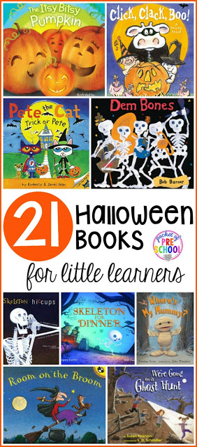 21 Halloween themed books for preschool, pre-k, and kindergarten. Fun (and not so scary) Halloween books students will LOVE!