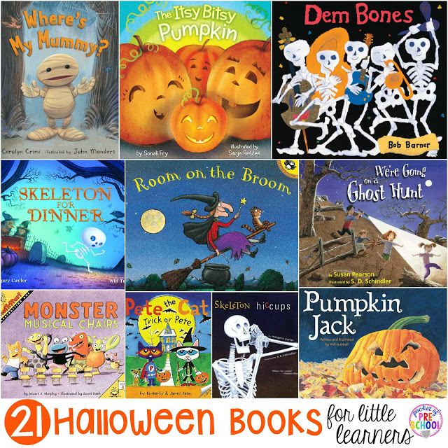 21 Halloween themed books for preschool, pre-k, and kindergarten.