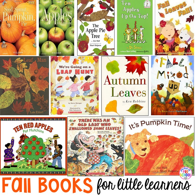Fall book list for preschool, pre-k, and kindergarten! Leaves, pumpkins, apples, and more!