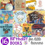 Birthday themed book list perfect for a birthday theme, bakery theme, or all about me theme for preschool, pre-k, or kindergarten!
