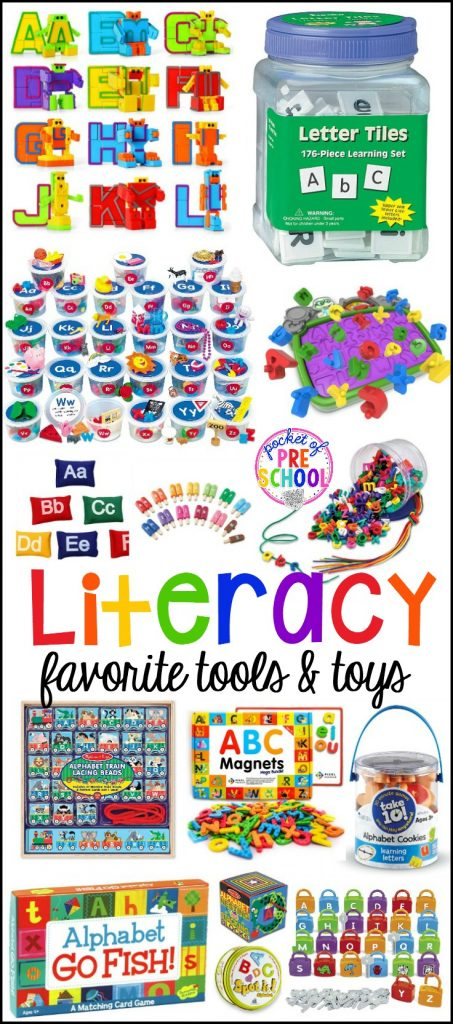 My favorite literacy tools and toys (letters, sounds, rhyme) for preschool, pre-k, and kindergarten. Use in the classroom or at home with your little learners.