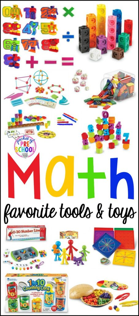 Favorite Math Toys and Tools for little learners (preschool, pre-k, and kindergarten)! Great for the classroom or home.