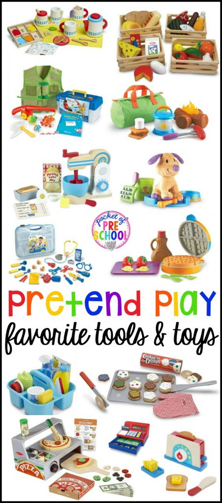 My favorite pretend play (aka dramatic play) tools & toys for preschool, pre-k, and kindergarten. Perfect for school or home.