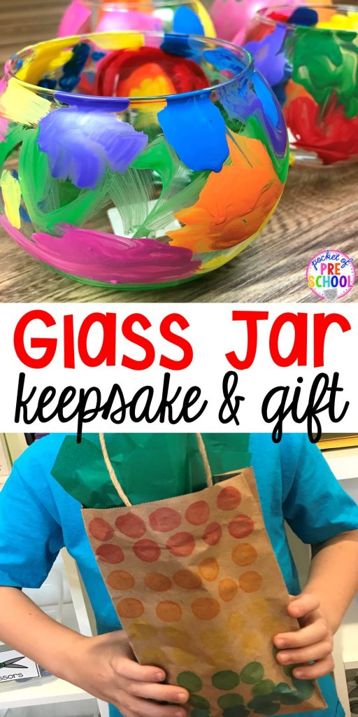 Christmas DIY Gift Painted Glass Jars (by kids)! Easy parent gift made by kids! A keepsake you can make in the classroom with your students can make for Christmas, Mother's Day, or Grandparent's Day.