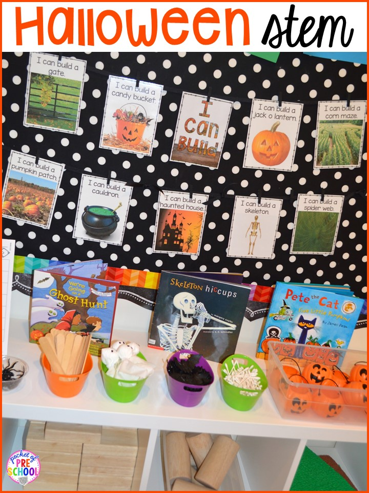 Halloween STEM! Plus my favorite Halloween activities and centers for preschool, pre-k, and kindergarten (art, math, writing, letters, blocks, STEM, sensory, fine motor). FREE printables... a mummy printable and witches brew counting recipe cards!