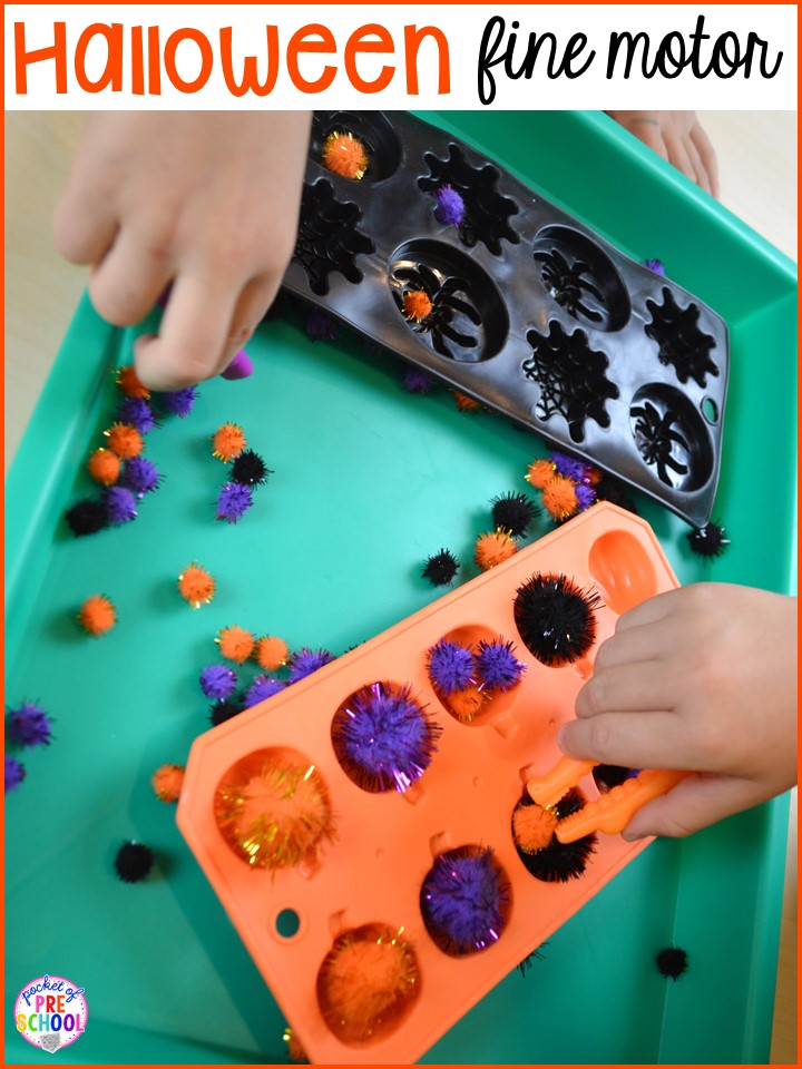 Halloween fine motor! Plus my favorite Halloween activities and centers for preschool, pre-k, and kindergarten (art, math, writing, letters, blocks, STEM, sensory, fine motor). FREE printables... a mummy printable and witches brew counting recipe cards!