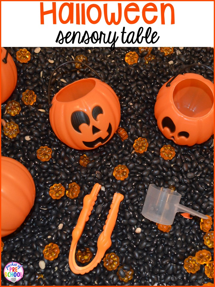 Halloween sensory table! Plus my favorite Halloween activities and centers for preschool, pre-k, and kindergarten (art, math, writing, letters, blocks, STEM, sensory, fine motor). FREE printables... a mummy printable and witches brew counting recipe cards!